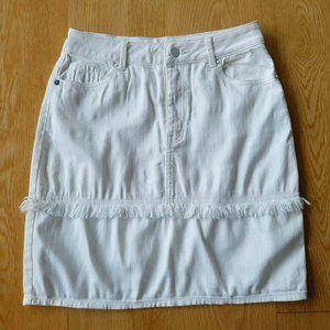 Life With Bird LWB White Denim Mini Skirt Raw Hem